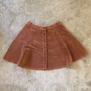 Brown Suede Skater Skirt